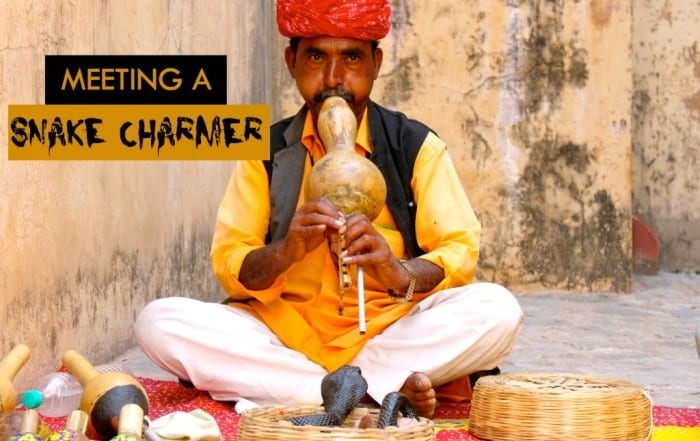 Meeting a snake charmer in India