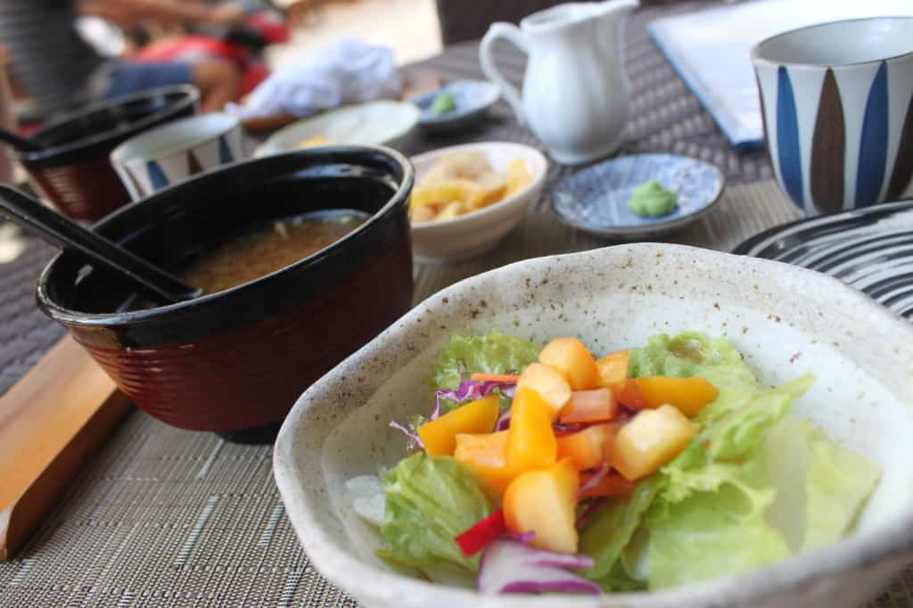 Miso soup with mango salad