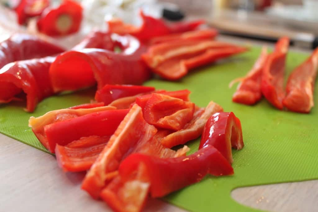 Raw red peppers