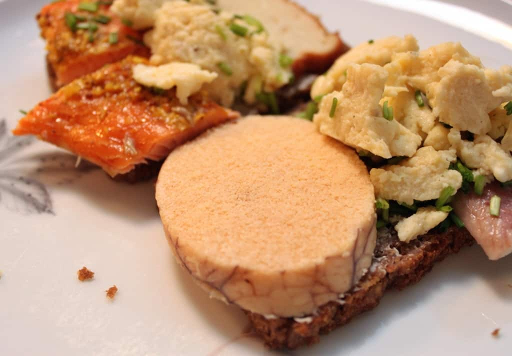 Rugbrød with cod roe, smoked eel, smoked salmon and fish frikadelle